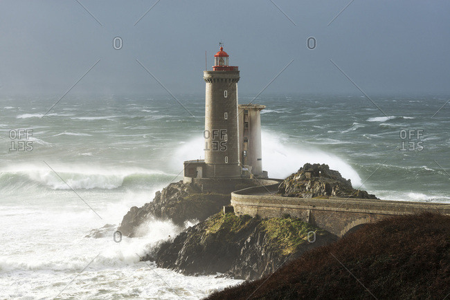 Phare Petit Minou lighthouse during a storm, Finistere, Bretagne