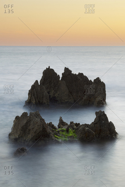 Sea stacks of the coastal rock formations in the Tyrrhenian Sea at San Felice Circeoin the Province of Latina in Lazio, Italy