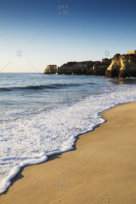 Surf on Beach at Lagos, Algarve Coast, Portugal