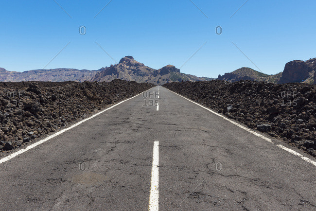Road through Lava Field in Parque Nacional del Teide, Tenerife, Canary Islands, Spain