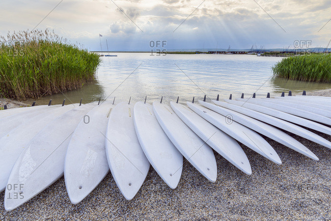 Surfboards on Beach, Neusiedl, Lake Neusiedl, Burgenland, Austria