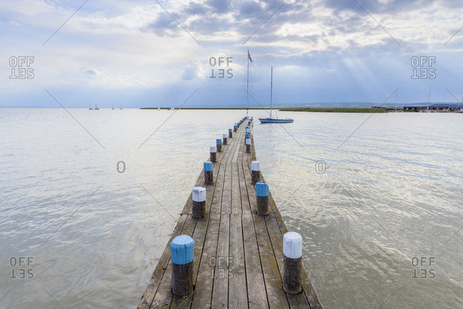 Wooden Jetty at Neusiedl, Lake Neusiedl, Burgenland, Austria