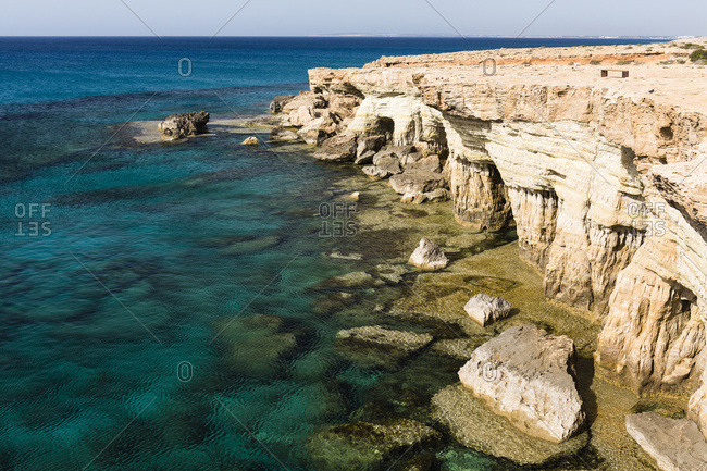 Sea Caves along Rocky Coastline by Mediterranean Sea, Cape Greco, National Forest Park, Ayia Napa, Cyprus