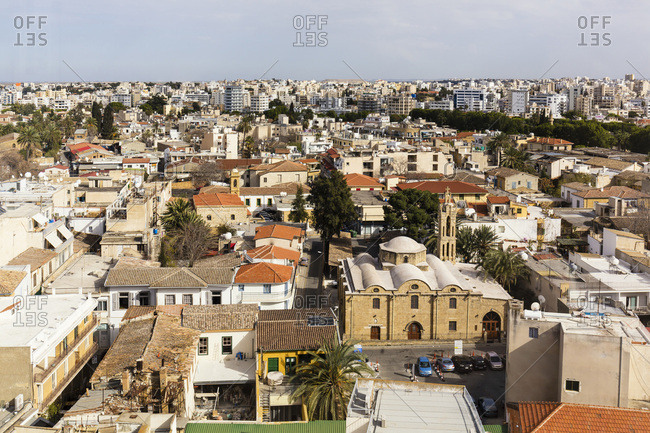 Nicosia, Cyprus - March 13, 2016: Elevated city view