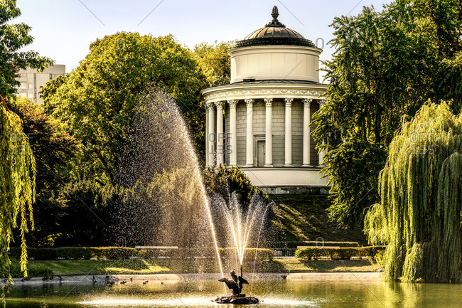 Poland- Warsaw- reservoir in historical Saxon Garden