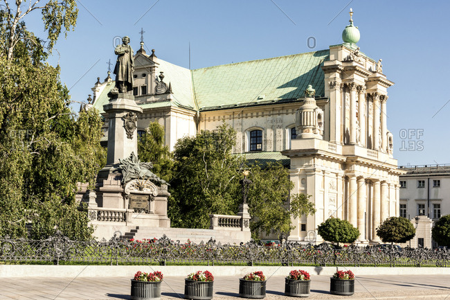 Poland- Warsaw- Adam Mickiewicz Monument and Carmelite church