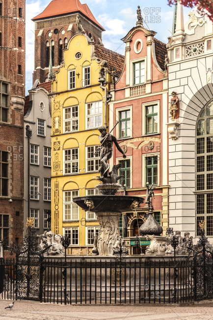 Gdansk, Poland - August 29, 2016: Neptune fountain at Artus Court
