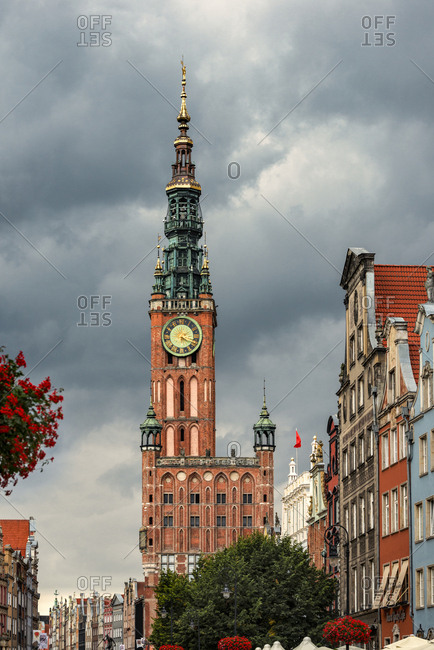 Poland- Gdansk- town houses and Main Town Hall