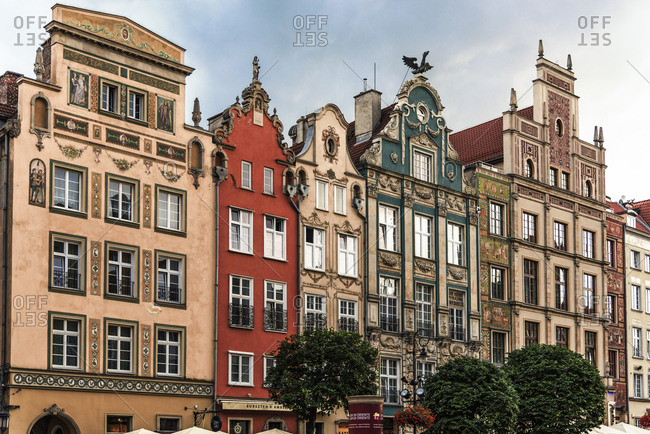 Gdansk, Poland - August 29, 2016: Town houses in the Main City