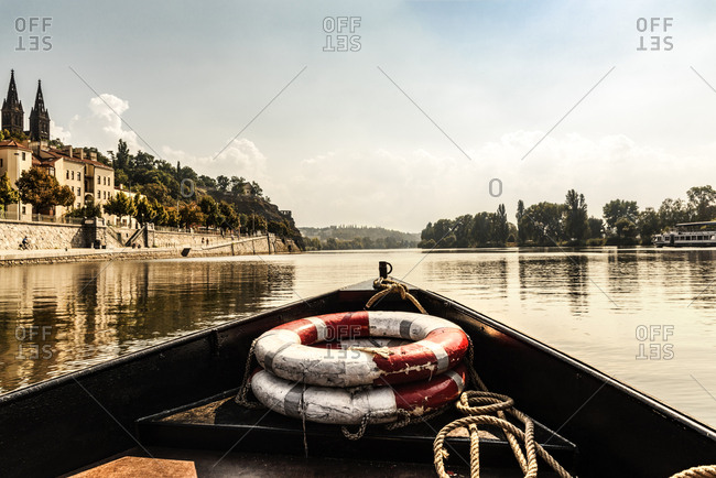 Czech Republic- Prague- ship's bow with lifesavers on Vltava