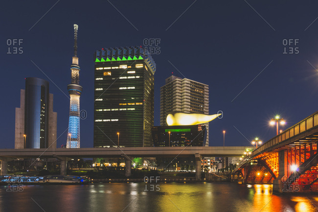 Tokyo, Japan - December 30, 2016: Sumida River and Skytree at night