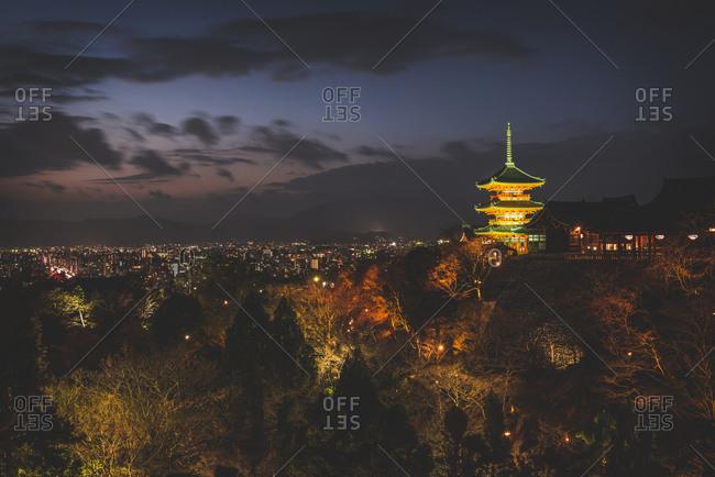 Japan- Kyoto- Kiyomizu-dera temple and cityscape