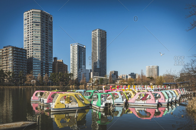Tokyo, Japan - December 31, 2016: Colorful paddleboats in Ueno park