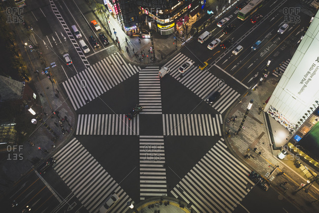 Tokyo, Japan - December 31, 2016: Top view of pedestrian crosswalk in front of Tokyu Plaza shopping mall