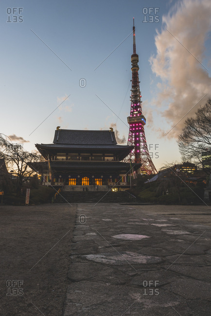 Tokyo, Japan - January 12, 2017: Temple and Tokyo Tower