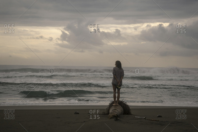 Indonesia- Java- back view of woman standing on the beach at evening twilight