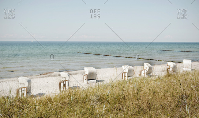 Germany- Hiddensee- view to beach with hooded beach chairs