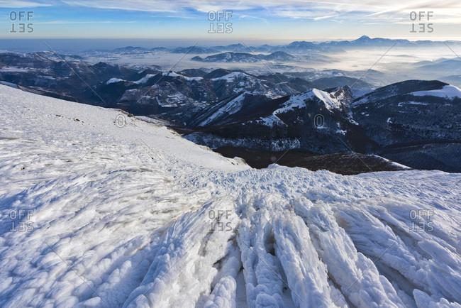 Italy- Umbria- Apennines- Monte Cucco park- Sunrise on Apennines in Winter