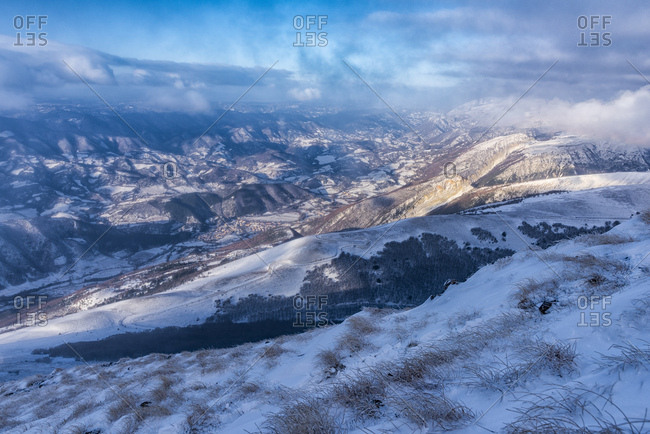 Italy- Marche- Apennines- mountainscape  in winter