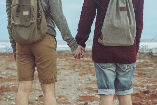 Back view of young gay couple holding hands on the beach