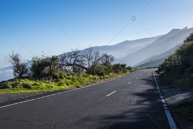 Spain- Tenerife- empty road in El Teide region