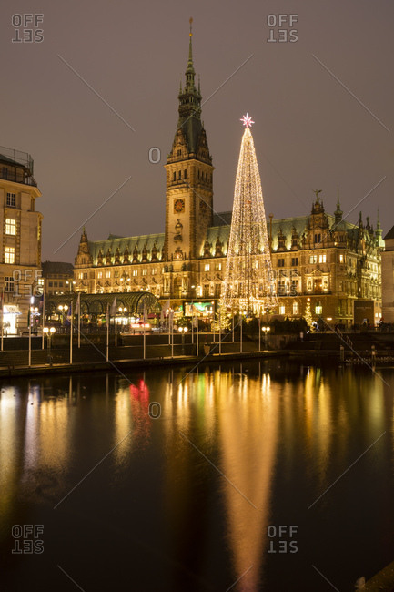 Hamburg, Germany - December 9, 2016:  Christmas tree at market in front of illuminated town hall