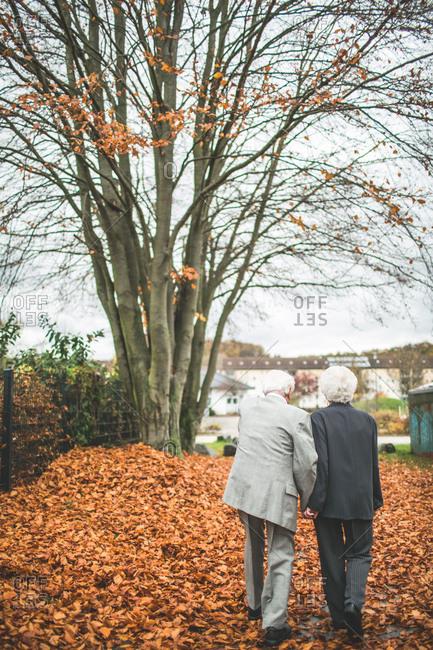 Senior couple in love at autumn walk