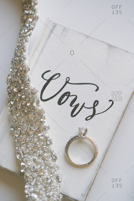 Engagement ring in wedding setting