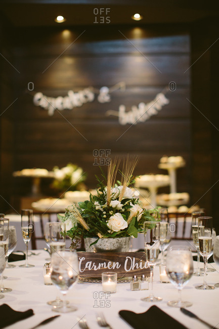 A table in a reception for wedding