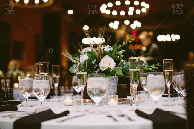 Wedding table with flowers indoors