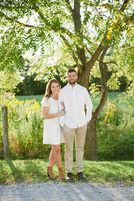 Loving couple in a countryside setting
