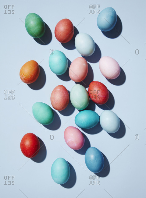 Scattered multi colored Easter eggs