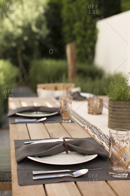 Place settings on outdoor table