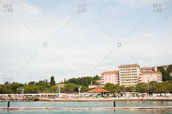 Portoroz, Slovenia - July 22, 2015: Seaside town of Portoroz, Slovenia