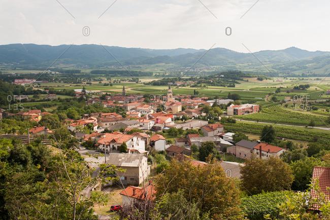 Bird's eye view of the town of Podnanos, Slovenia