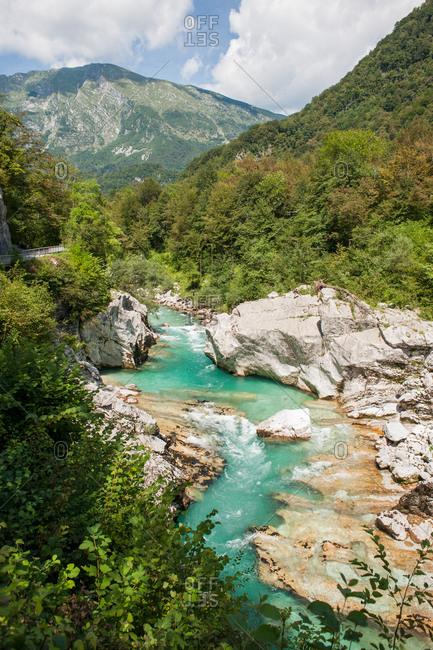 Soca River and the Julian Alps in Kobarid, Slovenia