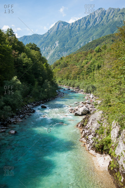 The Julian Alps and the Soca River in Kobarid, Slovenia