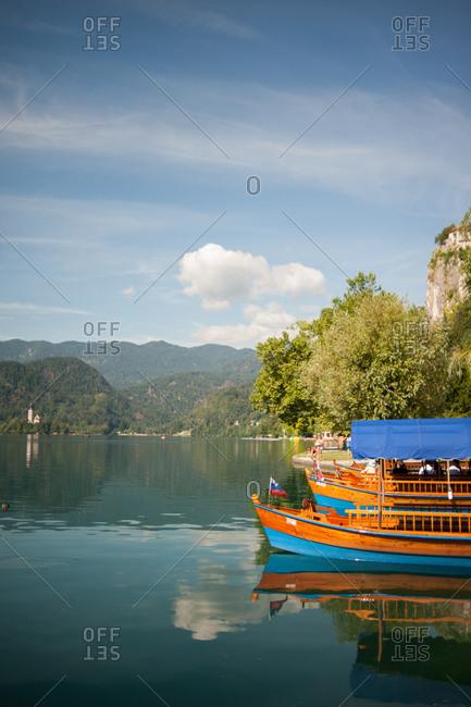 Lake Bled, Slovenia - July 22, 2015: Tour boat on Lake Bled