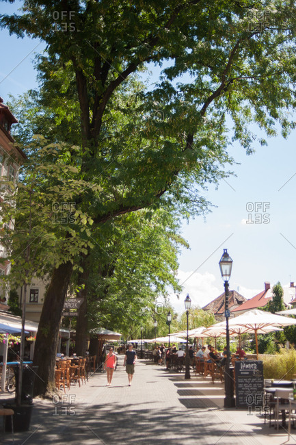 Ljubljana, Slovenia - July 22, 2015: Street scene in Ljubljana, Slovenia
