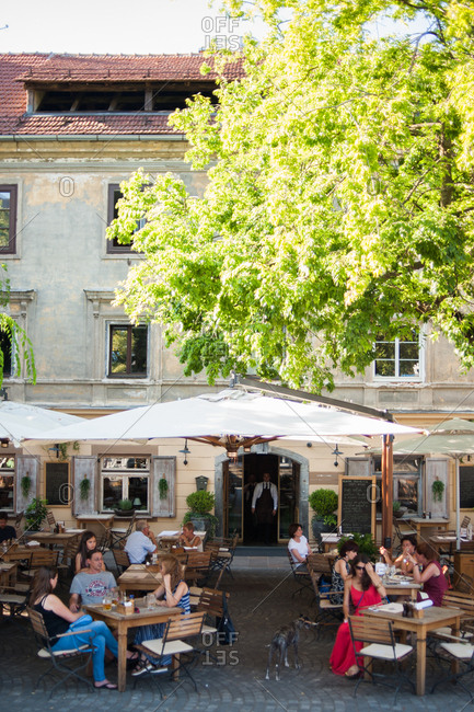 Ljubljana, Slovenia - July 22, 2015: Outdoor dining area at a restaurant in Ljubljana, Slovenia
