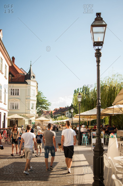 Ljubljana, Slovenia - July 22, 2015: People walking on the street in Ljubljana, Slovenia