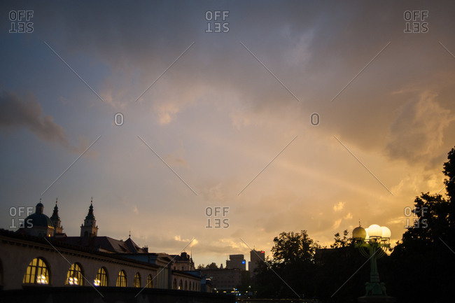 Ljubljana, Slovenia - July 22, 2015: Sunset sky over Ljubljana, Slovenia