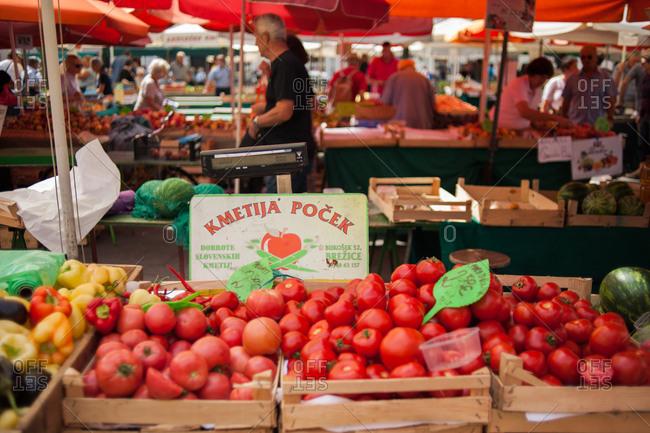 Ljubljana, Slovenia - July 22, 2015: Farmer's market in Ljubljana, Slovenia