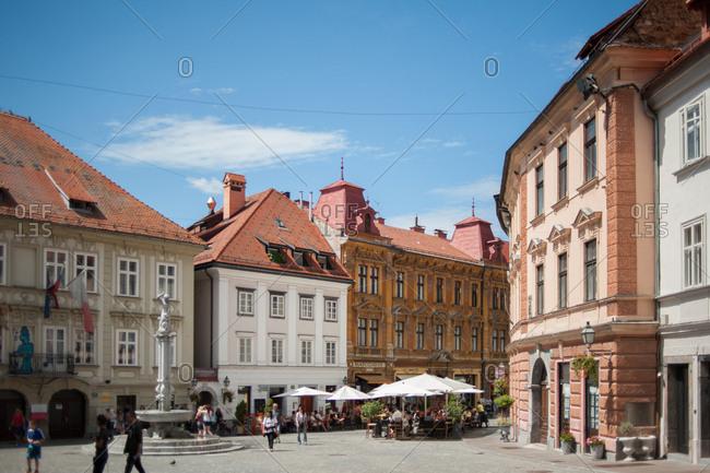 Ljubljana, Slovenia - July 22, 2015: Street scene in Old Town Ljubljana, Slovenia