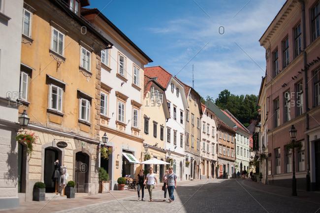 Ljubljana, Slovenia - July 22, 2015: People walking on the street in Old Town Ljubljana, Slovenia