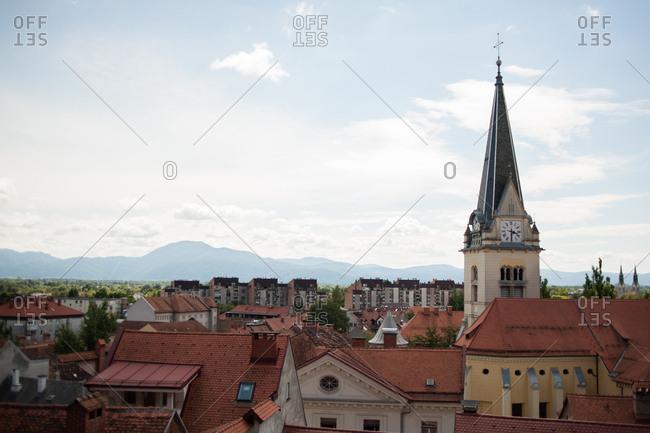 Ljubljana, Slovenia - July 22, 2015: Skyline with church in Ljubljana, Slovenia