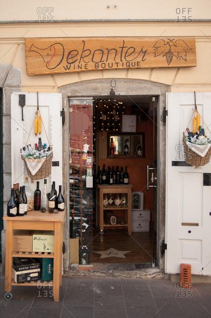 Ljubljana, Slovenia - July 22, 2015: Exterior of a wine store in Ljubljana, Slovenia