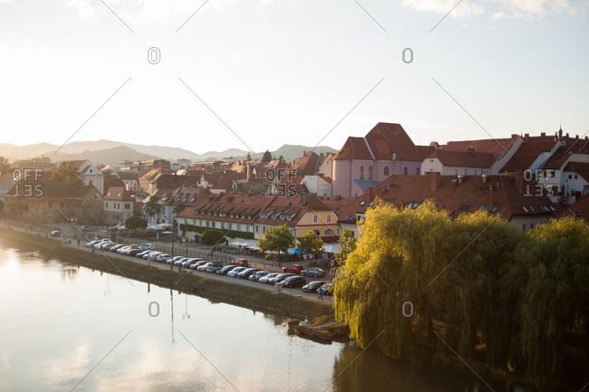The Drava River in Maribor, Slovenia