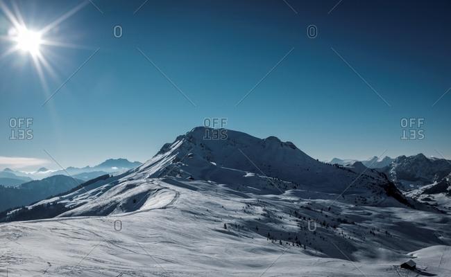 Ski trail in the Alps at dusk