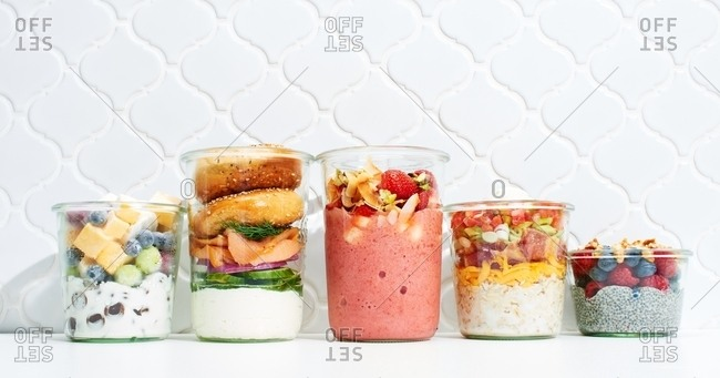 Food in jars on kitchen counter
